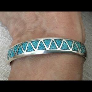 Native American inlaid turquoise cuff bracelet